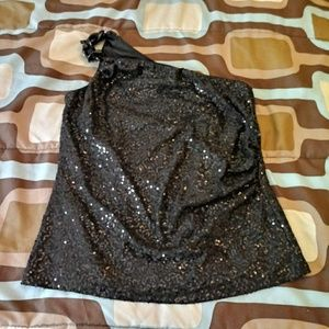 Cache sequin black one shoulder top sz L